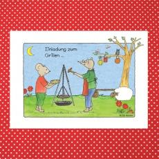Postkarte Künstlerkarte Einladung zum Grillen