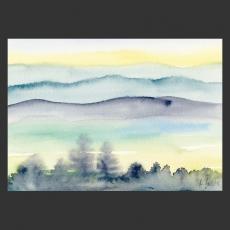 Postkarte Aquarell-Künstlerkarte Landschaft mit Bergen