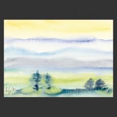 Postkarte Aquarell-Künstlerkarte Landschaft