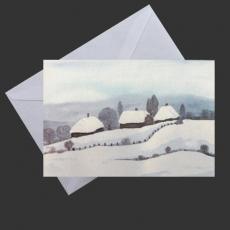 Aquarell-Künstler-Klappkarte - Schneelandschaft