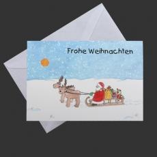 Weihnachtskarte - Elch, Weihnachtsmann, schlitten