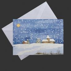 Aquarell-Künstler-Klappkarte- Winterabend im Schnee