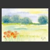 Postkarte Aquarell-Künstlerkarte Landschaft mit Blumen