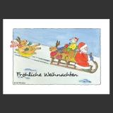 Weihnachts-Postkarte - Schlittenfahrt
