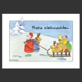 Weihnachts-Postkarte - Weihnachtsmann, Elche